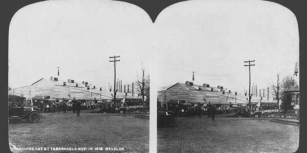 Stereograph of Tabernacle of Billy Sunday in Johnstown, PA, November 1913.