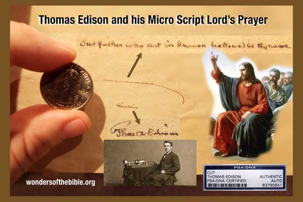 Image of Thomas Edisons micro script of the Lords Prayer. Click or tap on image to see it enlarged for detail.