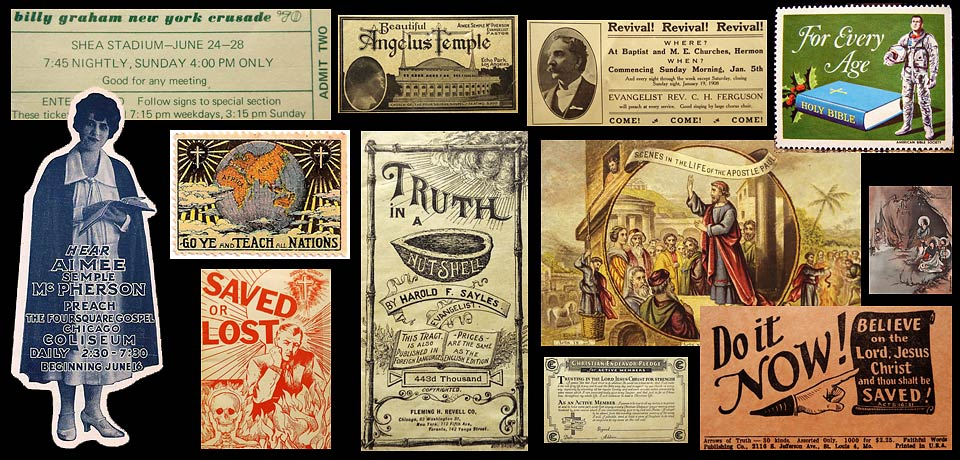 Various pieces of printed ephemera are shown representing the Christian faith.