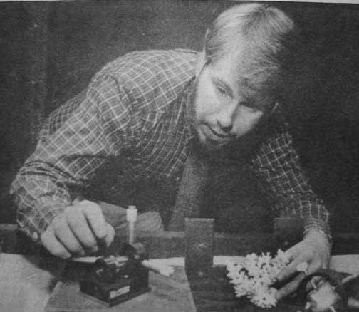 Frank DeFreitas in his laser and hologram lab, 1983